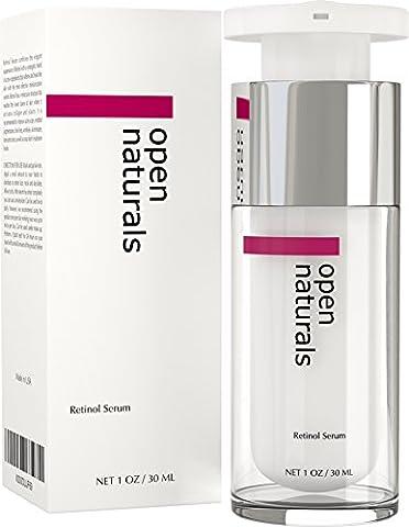 Open Naturals Retinol Serum - Best Treatment for Pigmentation, Acne and Acne Scars, Fine Lines, Wrinkles and Dark Circles - Premium 2.5% Retinol, Vegan Hyaluronic Acid & Jojoba Oil - It Works or 100% Money Back
