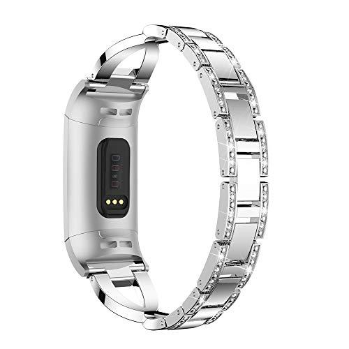 Hunpta@ Uhrenarmband für Fitbit Charge 3 Stilvolle X-Link Metall Armbänder Ersatz Verstellbare Riemen mit Strasssteinen (Silber)