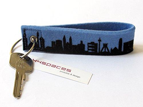 44spaces Design Schlüsselanhänger Ruhrpott Skyline Loop Wollfilz in blau, persönliches Geschenk für Frauen Männer Geburtstag Einzug Städtereise