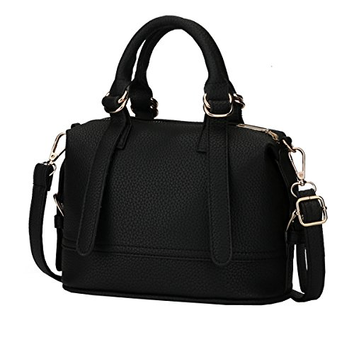 DISSA ES810 neuer Stil PU Leder Deman 2018 Mode Schultertaschen handtaschen Henkeltaschen,215×110×150(mm) Schwarz