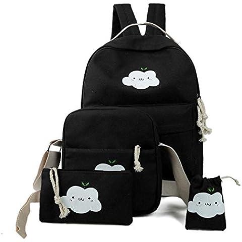 Toraway Estudiante Cute Fresh Color Schoolbags Doble Bolso De Hombro Cuatro Piezas De EquipacióN