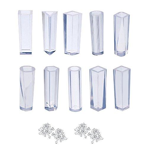 SelfTek 10 Pack Silikonformen DIY Schmuck Halskette Anhänger Charme Formen mit 100 Stücke Schraube Auge Pins (10 K Anhänger)