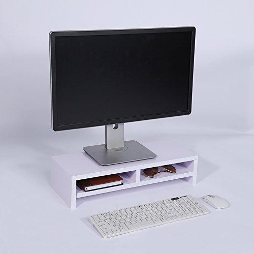 Greensen PC Holz Monitor Regal, Bildschirmständer Notebooktisch Notebookständer Laptopständer Computertisch Erhöhen Hölzern Schreibtischregal Monitorerhöhung Ständer