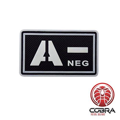 Cobra Tactical Solutions Patch Militare 3D in PVC con tipo sangue A- NEG con velcro per Airsoft/Paintball nero/bianco / Fluo