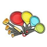 Local Makes A Comeback - Juego de 8 cucharas medidoras de silicona - Utensilios para hornear Juego de herramientas de cocina. Amarillo