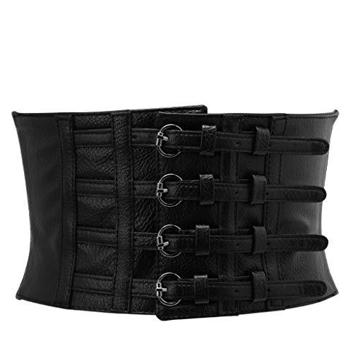Cansenty Retro-Korsett für Damen, Taillenform, breit, elastisch, Kunstleder