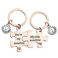 Zuo Bao Couple Jewelry You are My Sunshine My Only Sunshine Key Ring Stainless Steel Jigsaw Puzzle Piece Matching Pendant Keychain Set(Sunshine Set K-RG)