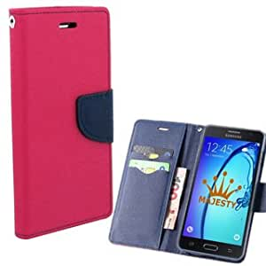 Luxury Mercury Magnetic Lock Diary Wallet Style Flip Cover Case With Premium Tempered Glass For Lenovo A6000 (Pink)