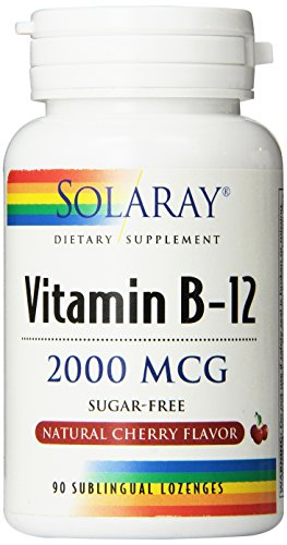 Solaray – Vitamina B12 sublingual 2000 mcg con sabor cereza, 90 Comprimidos
