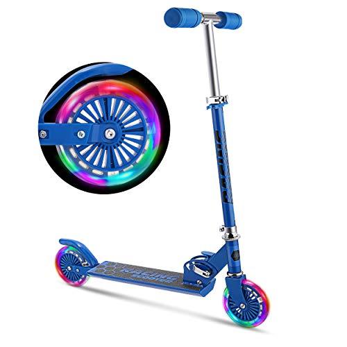 WeSkate Scooter Kinder Roller Tretroller Cityroller Kick Scooter klappbar mit LED Big Wheel Kugellager ABEC 7 für Mädchen Kinder ab 3 Jahre (B2/blau)