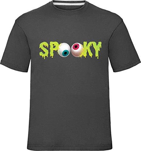 Kinder Halloween Spooky Augen T-Shirt (3-4 Jahre (Truhe 26