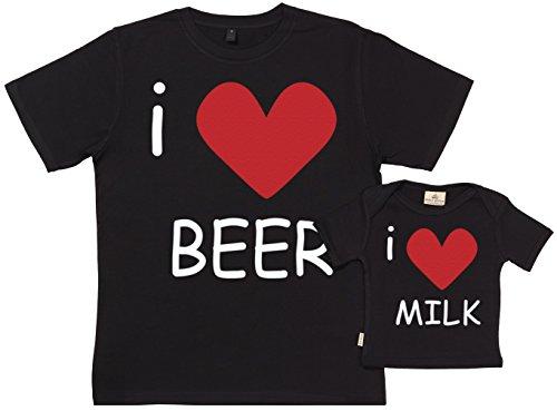 Spoilt Rotten SR - Exklusive Geschenkbox - I Love Beer & Milk 100% Biobaumwolle - Vater Sohn Geschenkset in Geschenkbox - S, 0-6 Monate - Schwarz