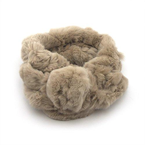 Lussuoso morbido Furry sciarpa marrone chiaro 65cmL