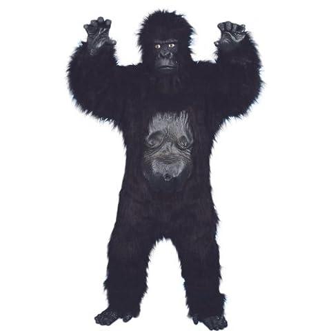 Halloween Herren Kostüm böser Gorilla Deluxe als Affe zu Karneval (Deluxe Gorilla-kostüm)