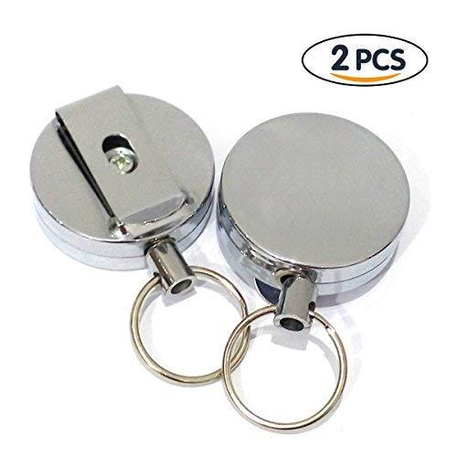 Jiele Retractable Key Reel Metall Diebstahl Keychain Stahldraht Seilrolle High Elastic Retractable Edelstahl Sicherheit Schlüsselanhänger Halter mit Gürtelclip (2 Stück)