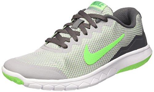Nike Jungen Flex Experience 4 (Gs) Laufschuhe, Mehrfarbig (Wolf Grey/Vltg LCD Grn-Wht), 36 1/2 EU Wht Lcd