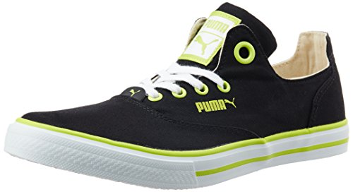 7. Puma Unisex Limnos CAT 3 DP Black, Lime Punch and White Canvas Sneakers