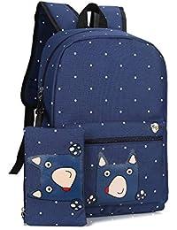 fcb84870e85d8 SHUANGJIAN Frauen Rucksack Niedlichen Cartoon Frauen Rucksack Schultaschen  Für Jugendliche Mädchen Damen Bagpack Canvas Stoff Rucksack