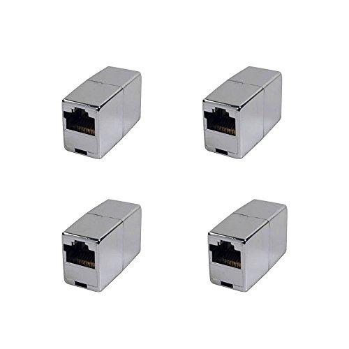 BIGtec 4 Stück RJ45 Ethernet LAN Kabel Kupplung Adapter Verbinder Netzwerk Modular Netzwerkkoppler für Patchkabel Netzwerkkabel Ethernetlan Ethernetkabel verlängern Verlängerung