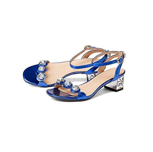 Onfly Donne Semplice Pelle di bovini Sandali Aprire il piede Diamante Cinturino alla caviglia Tacchi alti Tacchi alti Sandali Blue