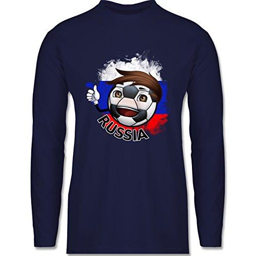 EM 2016 - Frankreich - Fußballjunge Russland - Longsleeve / langärmeliges T-Shirt für Herren Navy Blau