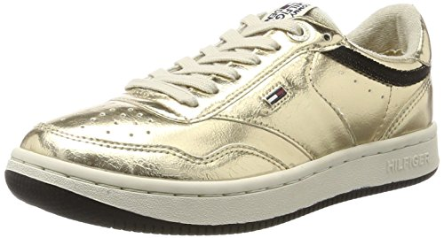 Hilfiger Denim Damen Wmns J1385ump 1z1 Sneaker Gold (Antique Gold)