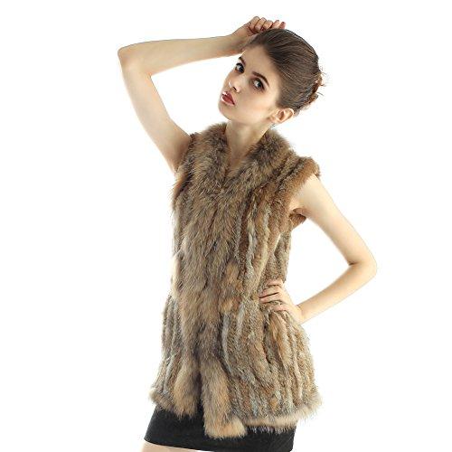 Veste de lapin - Hommes d'hiver Gilet long Gilet de fourrure de raccoon véritable Gilet Nature Marron