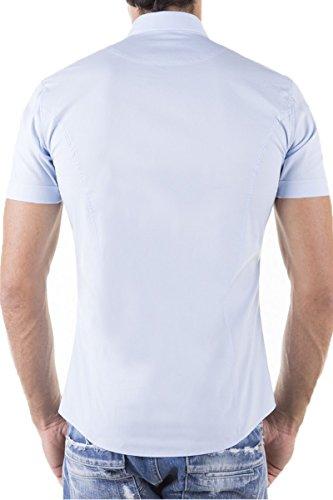 Herren Kurzarm Hemd Basic Uni Elasthan Slim Fit S M L XL XXL Hellblau