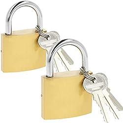 com-four® 2X Cadenas en métal Solide - Serrure de sécurité à 3 clés - Cadenas à poignée trempée (02 pièces - 50 mm V2)