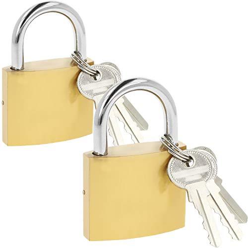 com-four® 2X Vorhängeschloss aus massivem Metall mit je 3 Schlüsseln und gehärtetem 50 mm Bügel (02 Stück - 50 mm V2) -