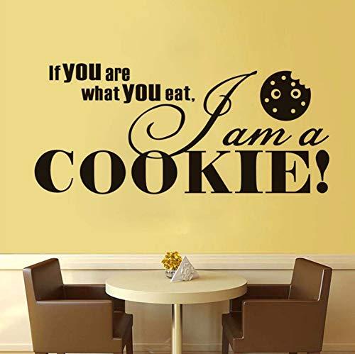 Dalxsh Kunst Font Zitat Ich bin ein Cookie VinylWandaufkleberfür BäckereiKüche Dekor Wandtattoo selbstklebende WandbildWandkunst 59x26cm