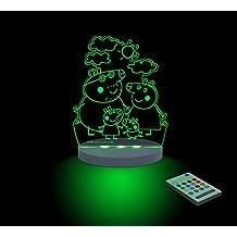 FUNLIGHTS Peppa Pig Familia Lámpara Bebé LED Multicolor con Mando. Elige el Color, Intensidad, Temporizador, Arco-iris y ¡mucho más!
