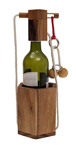 ROMBOL Flaschensafe 2, Ein teuflisches Seilpuzzle, Verpackung für Weinflaschen, Denkspiel, Knobelspiel aus Holz