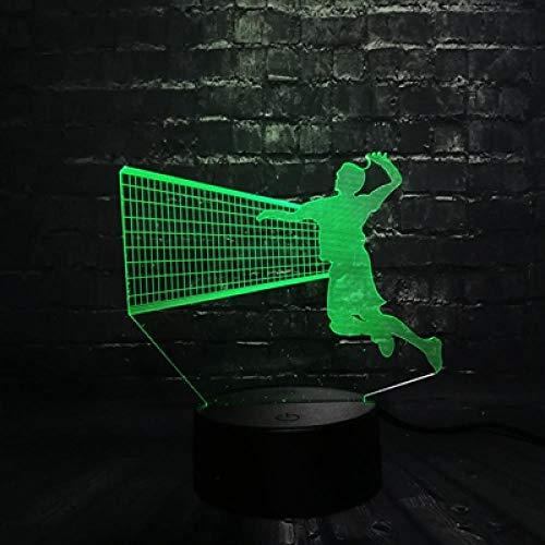 Serie Fünf Licht Wand Leuchte (Sportliche 3d serie multicolor led nachtlicht tennis lampe beach volleyball kinder weihnachtsgeschenk ein tisch dekor licht usb basis 4 5 controller 7 farbe usb wiederaufladbare jungen mädchen pr)