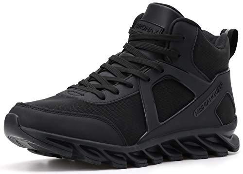 BRONAX Zapatillas Hombres Deporte Running Zapatos para Correr Gimnasio High Top Sneakers Deportivas Transpirables Casual Todo Negro 40EU