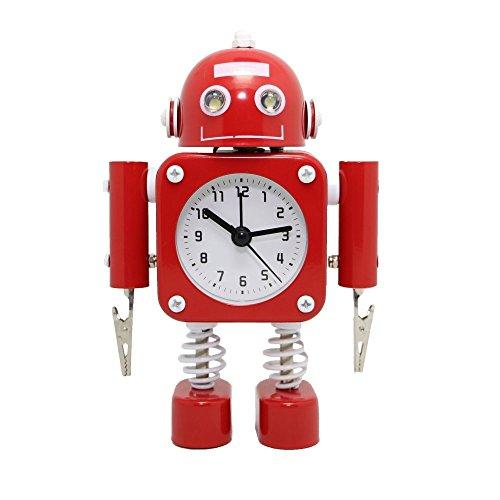 Betus Non-Ticking Robot Wecker aus rostfreiem Metall - Weckuhr mit blinkenden Augenlichtern und Handclip (Rubinrot)
