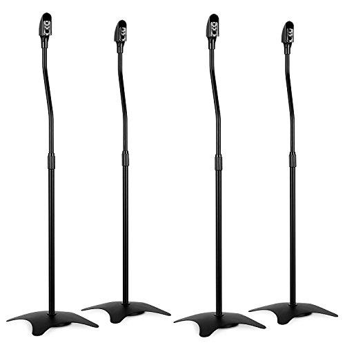 4x-Black-Steel-Height-Adjustable-Home-Cinema-Surround-Sound-Speaker-Stands