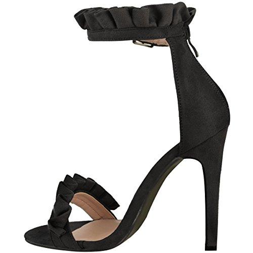 Sandales à talons hauts - brides à volants froncés - pour fête - femme Faux suède noir/bout ouvert/froncé
