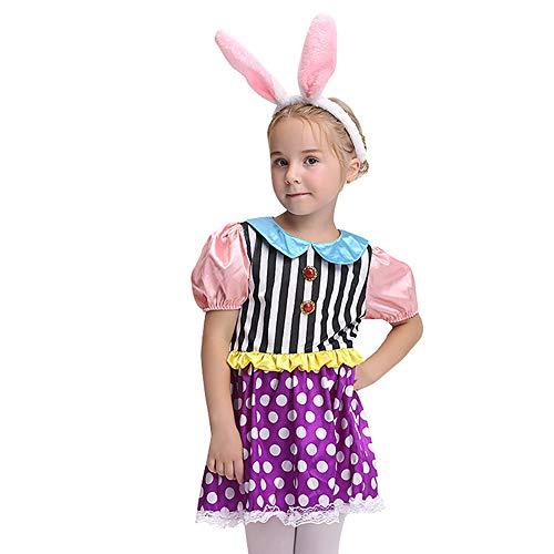WWJIE Kinder Halloween Kaninchen Kostüm European & American Cosplay Kaninchen Rollenspiel Kleid