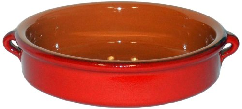 Amazing Cookware Plat circulaire en terre cuite 25 cm - 'rouge nacré'