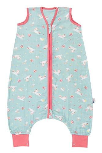 Schlummersack Schlafsack mit Füßen aus Bambus-Musselin für den Sommer ungefüttert in 0.5 Tog - Einhorn - 6-12 Monate/70cm