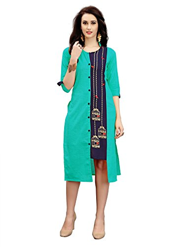 AnK New arrival Girls' Cotton Embroidered Kurti (Panjara_40, Firozi)