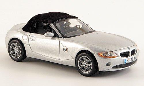 BMW Z4, silber, mit echtem Stoffverdeck, Modellauto, Fertigmodell, Norev 1:43 (Stoffverdeck)