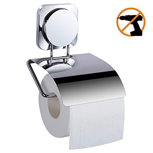 Ezprotekt Toilettenpapierhalter Ohne Bohren, Selbstklebend Toilettenpapierrollenhalter mit Deckel, Edelstahl Klopapierhalter Wc Halter Rollenhalter Klorollenhalter Papierhalter für Küche und Badzimmer