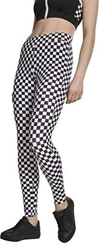 Urban Classics Damen Leggings mit Schachbrettmuster,Schwarz/Weiß, Größe XL