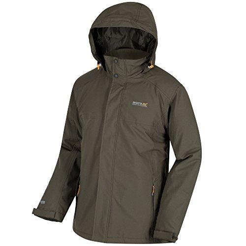 Regatta Mens Hackber Waterproof Breathable Insulated Jacket dark khaki