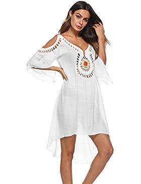 Baijiaye Mujer Lino Hombro Desnudo Cintura Media Agujeros Perspectiva Transparente Vestidos con Pareos De Playa...