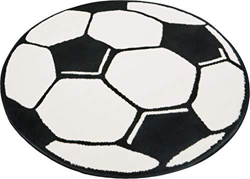 HANSE Home 100015 Fußballteppich rund, 100 cm, schwarz/weiß