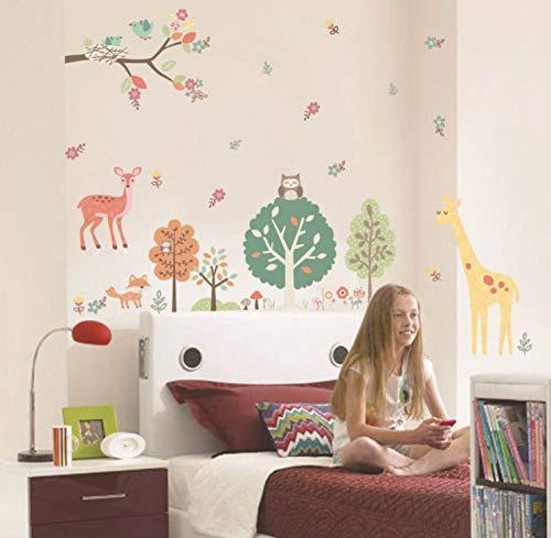 s Art Sticker Murals Decal Decals Children Vinyl Birds's Home on Tree Branch Owls Deer Giraffe Woods Flowers Wall Kids Room Boys Girls Room Decor Wall Border Poster ()