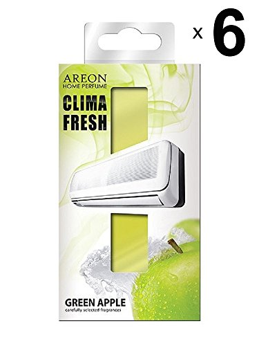 AREON Clima Fresh Air Freshener Apple Green House Air Conditioning Smell Fruit Original Home Living Room Office Store (Green Apple Pack 6)